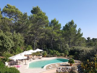 Four umbrellas, 8 sun loungers and 2 matresses around the heated private pool.