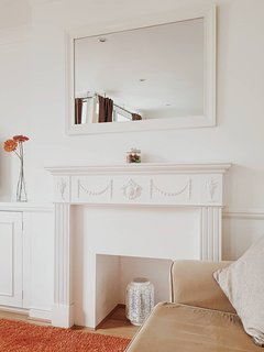 A restored fireplace adds charm