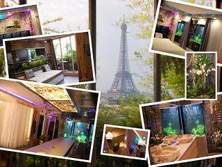 Luxe a PARIS, Vue exceptionnelle Tour Eiffel avec Aquariums geant !