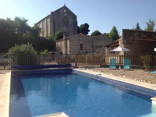 Converted barn, with heated pool and in village with shop, bar and restaurant.