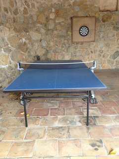 Table tennis and darts in the car port