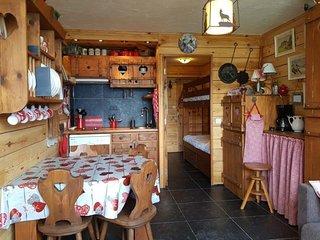 Charmant studio cabine 3 personnes decore montagne à Arc 1600 proche des pistes