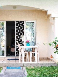 own private verandah overlooking pool