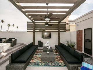 Outdoor living, with large seating area, 55' TV, with soundbar