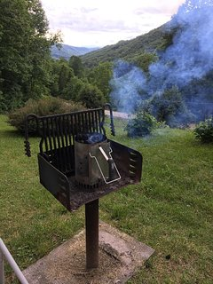 Charcoal grill with chimney starter.