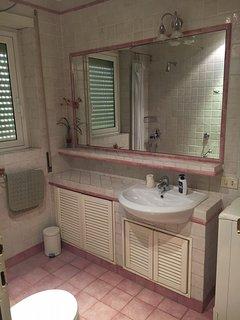 Bathroom 2: window opening onto building courtyard (shower and washing machine)