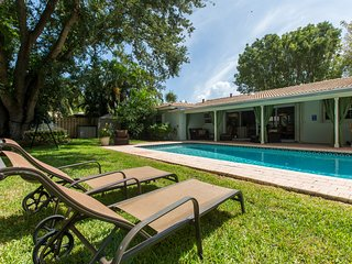 Entire pool home with a large sunny private yard