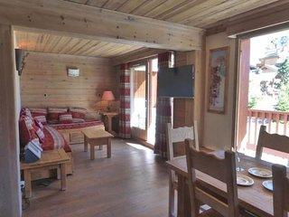 Appartement chaleureux à 100 m du départ des pistes, des cours de ski et de la g