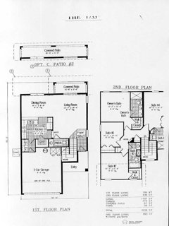 Floor plan - all bedrooms on first floor. Bath in family bathroom, walk-in showers in bedrooms 1&2