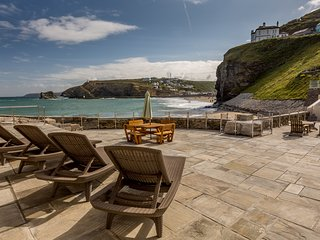 Raised area of the patio with commanding views across the beach