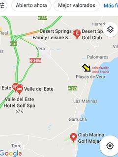 Localización de la vivienda y 3 campos de Golf cercanos, entre 6 y 10 km.