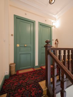Your private apartment (left door), and ours are located 2 levels from the street by the stairs.