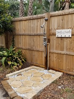 Newly added outdoor shower. Wash off the sand and beach using the new shower.