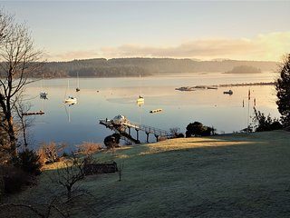 A frosty morning overlooking sailboats in the harbour