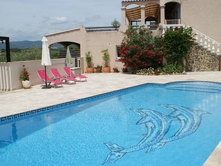 Tranquil Villa with Stunning Views, Large Heated Private Pool and Games Room
