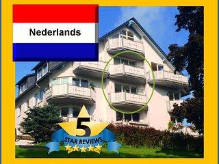 TOP 4 star Maisonnette in the KURPARK, 2 storeys, 2 balconies, own WIFI