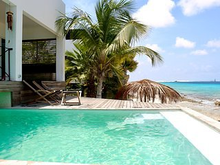 Sunset Beach House Bonaire Oceanfront villa in upscale part of the island.