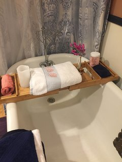 Antique Clawfoot tub perfect for a long soak at the end of the day or anytime