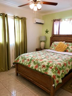 Queen Size Guest room, TV full wall closets, airco