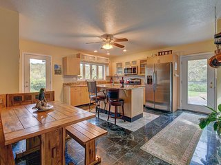 Huge all new kitchen with radiant heated marble floors, granite countertops, double sink areas, ….