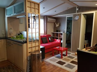 Mobil home Louisiane entierement climatise de 40 + 26m2 , avec Spa exterieur .