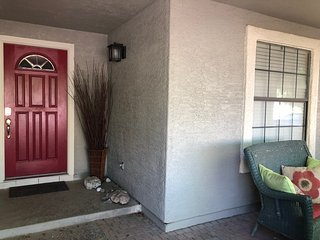 Front patio to sip coffee, watch the sunset under mesquite trees. Keypad on door for security.
