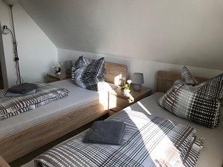 Doppelzimmer mit Gemeinschaft-Badezimmer mit 2 Einzelbetten
