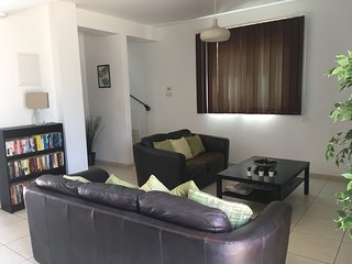 Spacious and relaxing lounge/living area. Leather 2/3 seater settees to create relaxing environment
