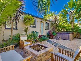 20% OFF DEC! Beach Home, Walk to Ocean, Outdoor Living w/ Fire Pit & Jacuzzi