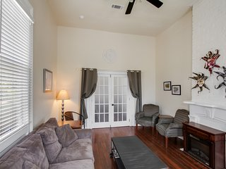Living room.  French doors lead to bedroom 1.