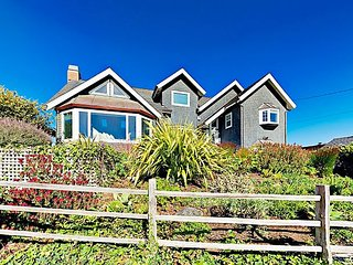 Coastal Garden Paradise w/ 3 Decks & Ocean Views - Easy Beach Access