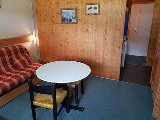 Studio 2 personnes a Arc 1600 belle vue sur la piste de la cachette ski aux pied