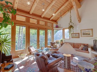 NEW LISTING! Charming dog-friendly lodge w/fireplace, big deck & beautiful view
