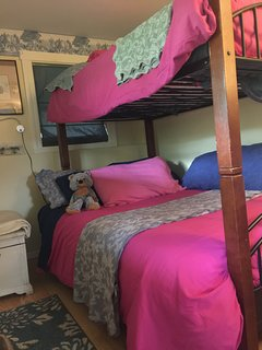 Bedroom 2 with bunk style bed, double bed on bottom and twin on top