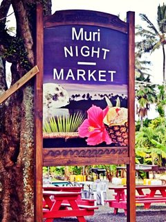 our donated sign at the Muri Night Market just a stroll from the driveway