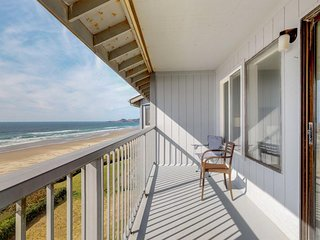 Modern oceanfront studio condo on Nye Beach with seasonal shared pool