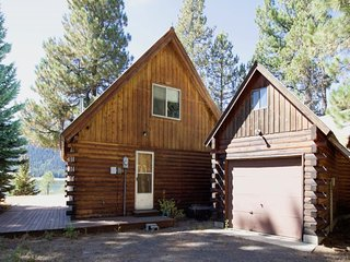 Lakefront log cabin w/ private beach, dock, firepit, & mountain views! 1 dog OK!