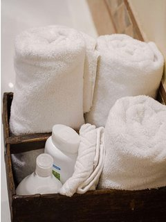 Personal care products are provided: towels, shampoo, conditioner, body soap, etc