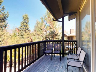 NEW LISTING! Wooded getaway w/fireplace, balcony, shared pool & hot tub