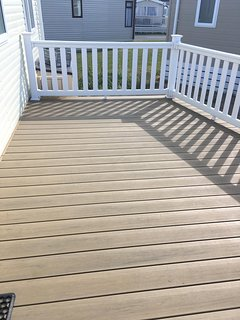 Large outside decking area safe and secure for kids.