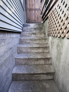 This private, dry, covered staircase leads to the private entrance to your room.