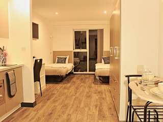 Fantastic twin bed studio apartment complete with modern kitchenette (Apartment