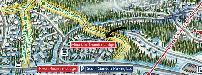 One of few homes in Mtn Thunder located directly on ski run, closest access!