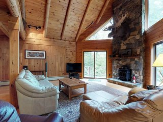 Log home on Moosehead Lake w/ dock, pebble beach, firepit & spacious deck!