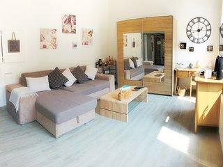 Pièce à vivre spacieuse avec rangement, coffre, coin bureau et canapé lit 3 places.