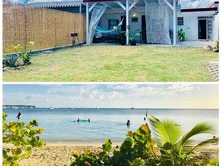 A 100m de la plage de Pointe Marin! Calypso Maison de charme F3 colorée et arty