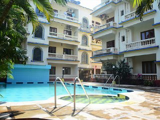 2 BR Apartment With Shared Pool,700 m From Calangute Beach