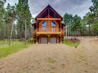NEW LISTING! Secluded log home w/ mountain & forest views deck- 1 mile to lifts!