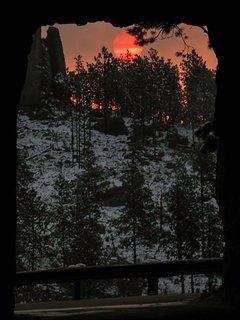 Sunrise on Needles Highway tunnel