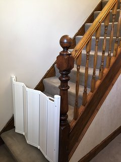Stair gates at top and bottom of the stairs